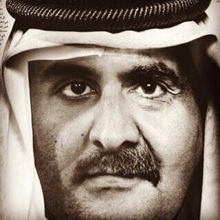 """This picture hascurrently been circulating in social media, which is combination of Emir Tamim's and Sheikh Hamad's faces. It refers to the unity of Qatari society against any foreign threat with hashtag of #كلنا_تميم, meaning """"We are all Tamim""""."""
