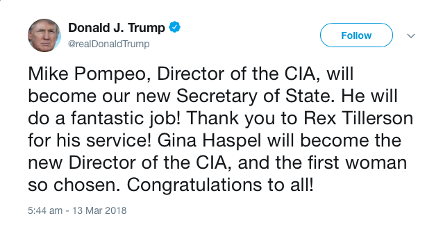 President Donald Trump tweets, 13 March, 2018.