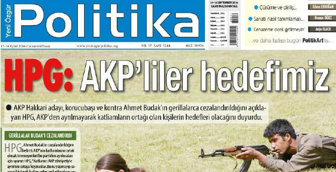 HPG: AKP is our target