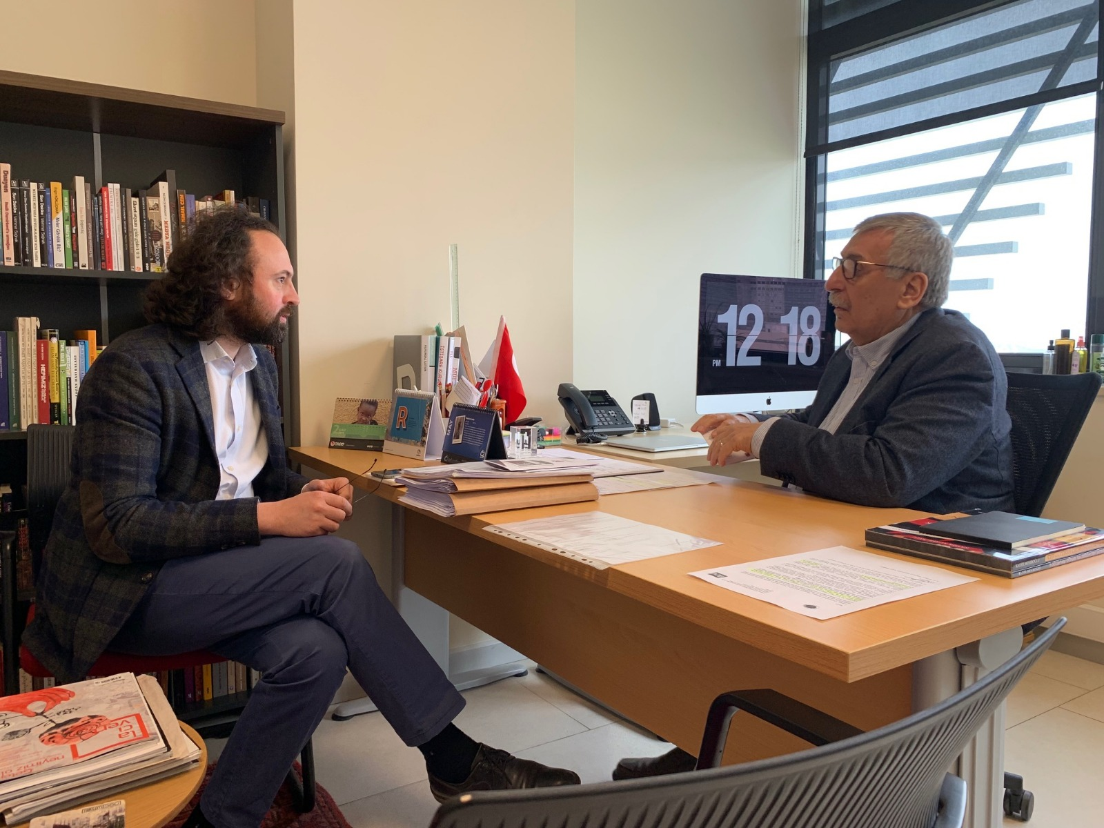 Politics Today Editor-in-Chief Faruk Yaslicimen with Dr. Hakki Ocal during the interview at Ibn Haldun University